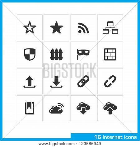 Internet icon set. Vector black pictograms for social web and mobile app, interface design. bookmark star, RSS, sitemap, network, link, download and upload symbol