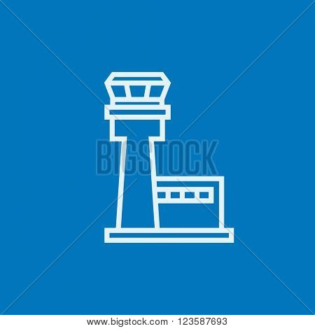 Flight control tower line icon.