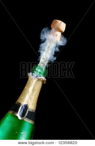 Champagne; objects on black background