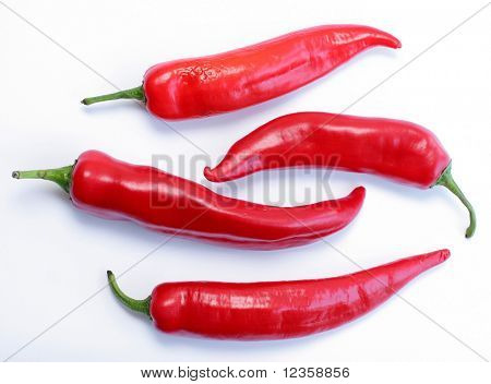 peppers; objects on white background