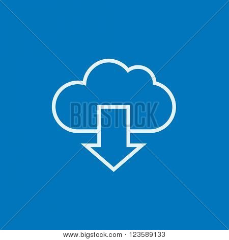 Cloud with arrow down line icon.