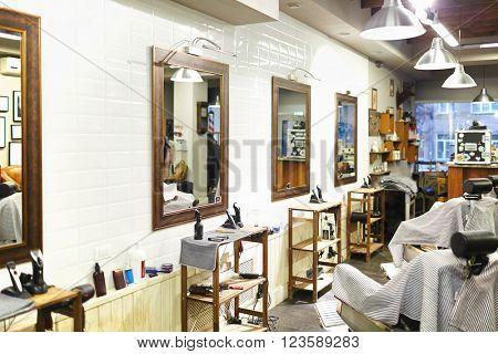 Inside barbershop