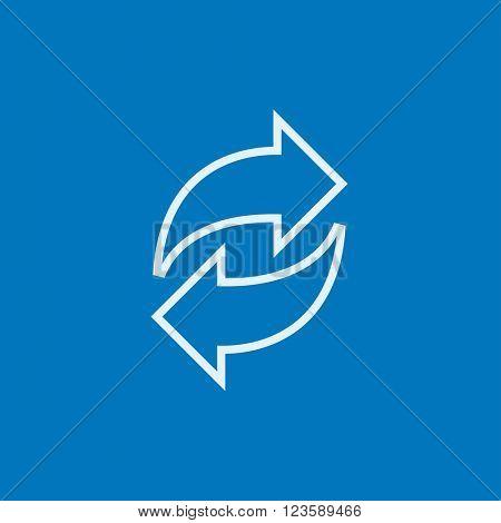 Two circular arrows line icon.