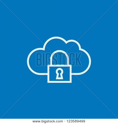 Cloud computing security line icon.