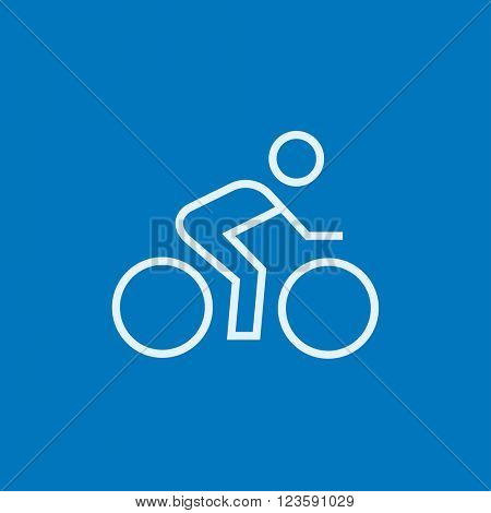 Man riding  bike line icon.