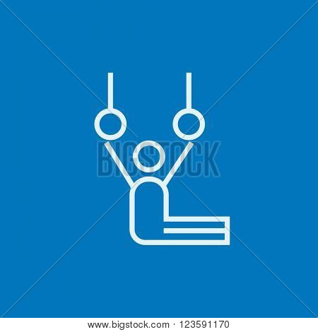 Gymnast performing on stationary rings line icon.