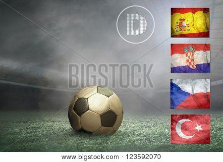 Soccer ball at field. Group of national teams.