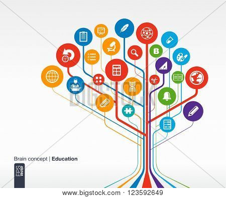 Abstract education background with lines and circles. . Brain concept with science, history, bell, school, calc and pencil icon. Vector infographic illustration.