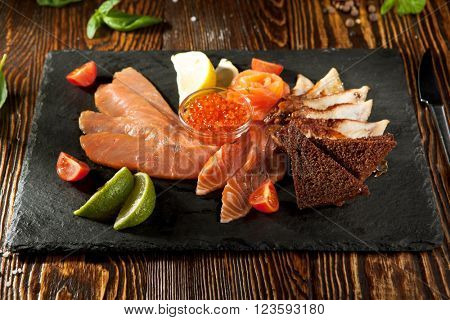 Cured FIsh with Lime, Bread and Salmon Roe