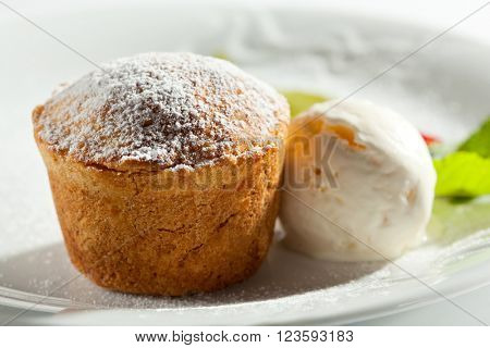 Pumpkin Pie with Ice Cream and Mint