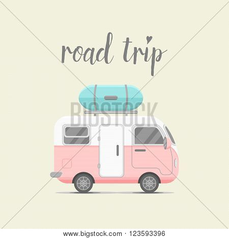 Vector caravan trailer with baggage box. Mobile home vector illustration. Traveler truck flat vector icon. Family traveler truck summer trip concept. Logo or emblem concept. Road trip