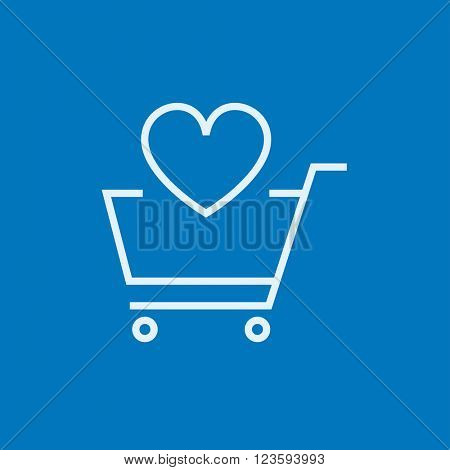 Shopping cart with heart line icon.