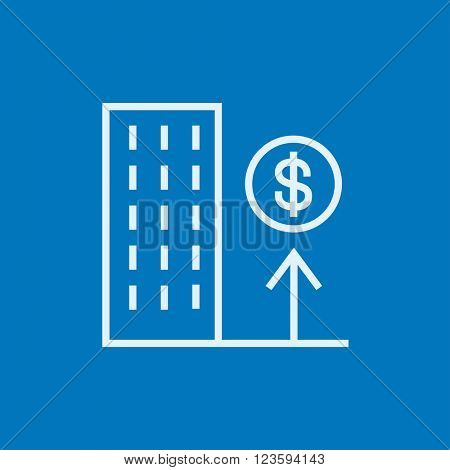 Growth of real estate market line icon.