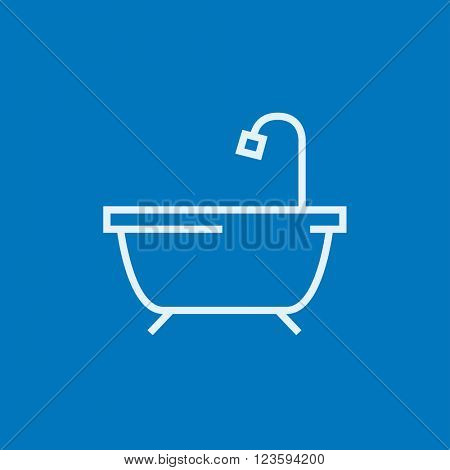 Bathtub with shower line icon.
