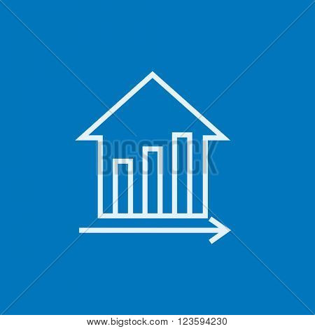 Graph of real estate prices growth line icon.