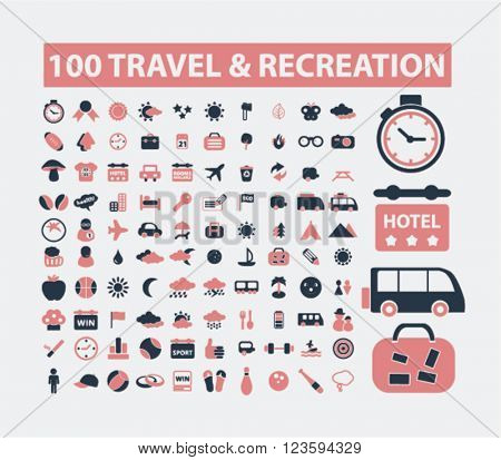 travel, vacation, recreation, tourism icons