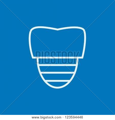 Tooth implant line icon.