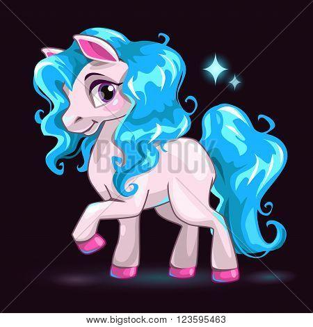 Little cute white cartoon horse with blue hair on dark background, beautiful pony princess, girlish vector illustration