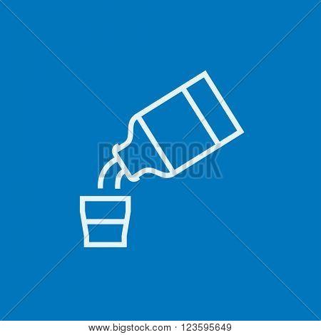 Medicine and measuring cup line icon.