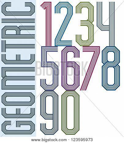 Retro colorful geometric numbers with parallel lines decorative poster letters.