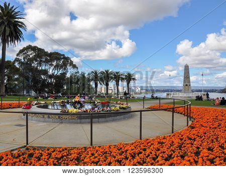 PERTH,WA,AUSTRALIA-AUGUST 22, 2015: State War Memorial and stunning flowers and tropical trees at King's Park botanical gardens in Perth, Western Australia.