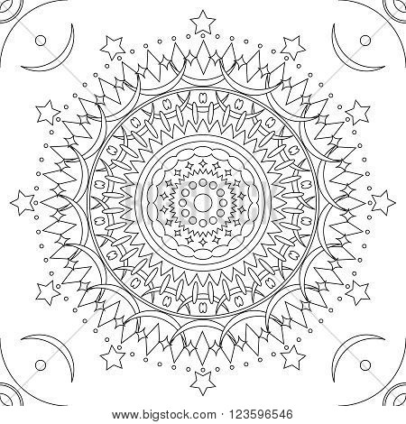 Seamless mandala pattern outline in black and white