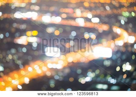 Traffice Light Blurred City Aerial View From The View Point.