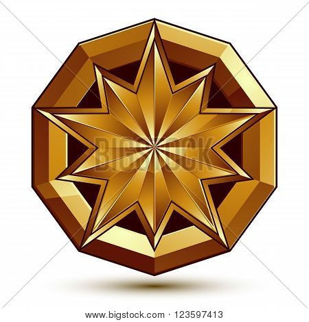 Vector Classic Emblem Isolated On White Background. Aristocratic Golden Star, Clear Eps 8.