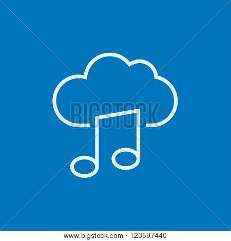 Cloud music line icon.
