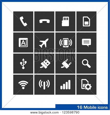Mobile icon set. Pictograms for web, computer and mobile apps. Include pick up, flash card, sim, keyboard, plane, vibration, speech babble and connection symbol.