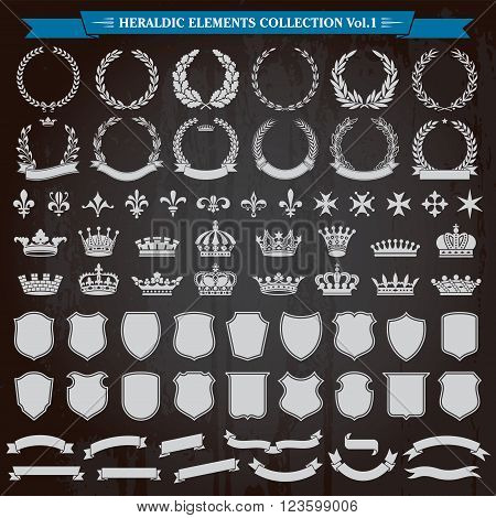 Heraldic elements laurel wreaths crowns ribbon banners shields royal lily collection vector