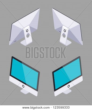 Set of the isometric generic monoblock computers. The objects are isolated against the grey background and shown from different sides