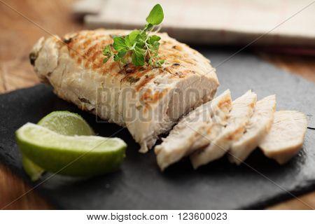 Slices of roasted turkey meat