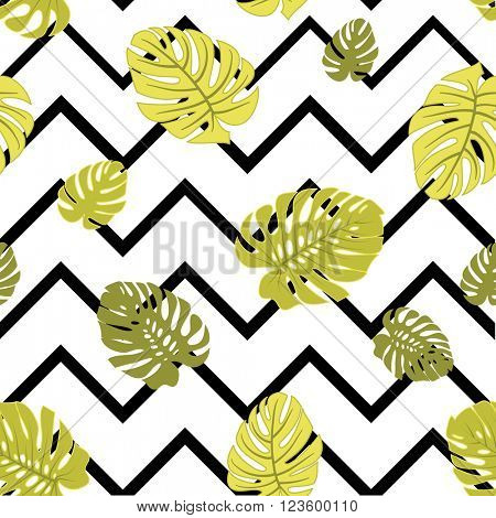 tropical monstera leaves seamless background
