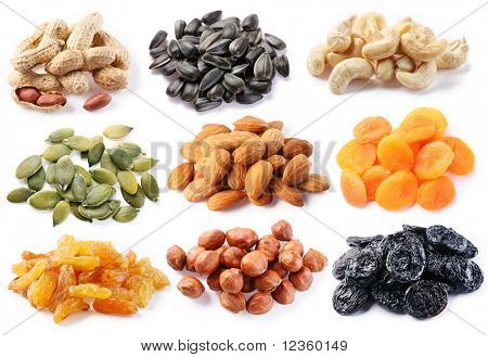Groups of various kinds of dried fruits on white background