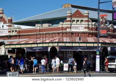FREMANTLE,WA,AUSTRALIA-FEBRUARY 21,2015: Tourists at the historic Fremantle Markets in Fremantle, Western Australia.