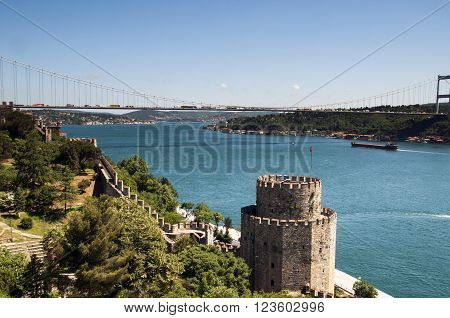 Rumeli Fortress in Istanbul Bosphorus and the Bosphorus Bridge.