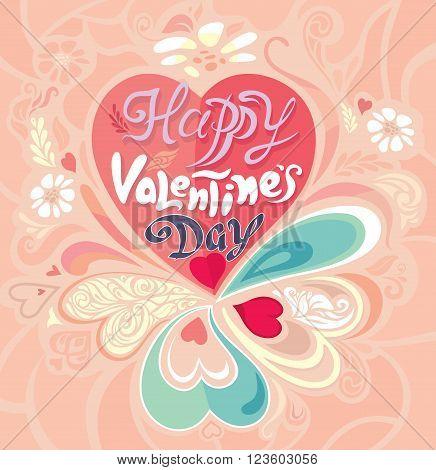 Retro Vintage calligraphic decorative colorful greeting Valentine's Day card