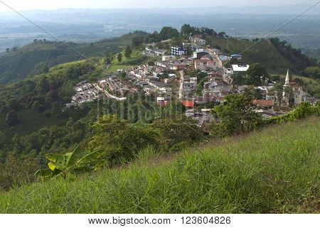 A photo of the town, Buena Vista, in Quindio, Colombia.