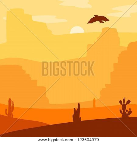 Retro Wild West Desert. Vintage sunset in prairie with cacti and eagle in sky. Grunge old texture. Natural Landscape for print poster illustration sticker. Vector