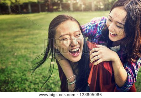 Sister Friendship Affectionate Adorable Outside Concept