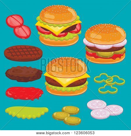 Hamburger, cheesburger and burger ingredients isolated set. Bun, pepper, ketchup, salad, beef. Vector illustration.