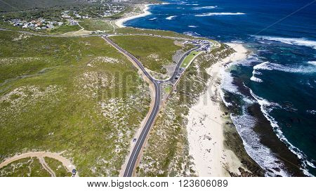 Aerial view of Surfers Point Margaret River Western Australia
