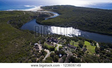 Margaret River Mouth with Wallcliffe House ruins in foreground