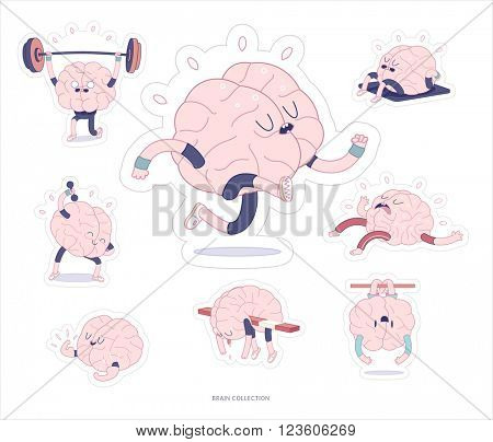 Brain stickers fitness printable set, cartoon vector isolated images with cutting path, a part of Brain collection