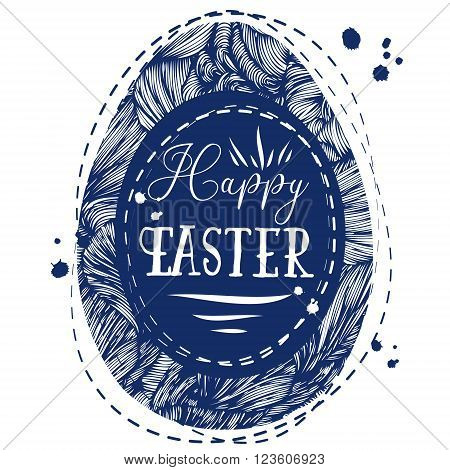 Hand Drawn Ornamental Easter Eggs With Wave Pattern And Text Happy Easter. Cute Doodle Style Easter