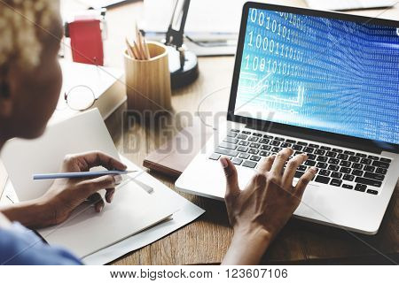 Global Binary Code Digits Technology Software Concept