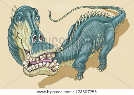 Digital illustration of a Diplodocus dinosaur with a close view of the blissfully goofy expression on its face. It is rendered in a painterly cartoon style.