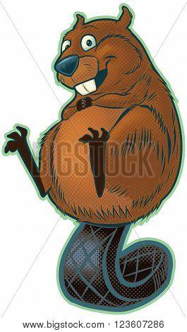 Vector cartoon clip art illustration of a cute happy beaver balancing on its tail.