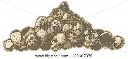 A vector cartoon clip art illustration of a pile of cracked and broken skulls. Makes a great